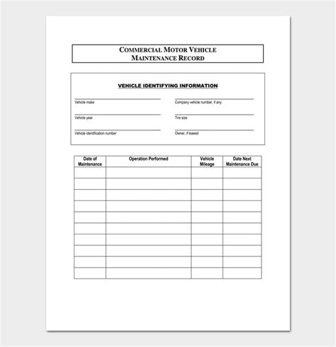 car service record template vehicle maintenance planner template vehicle ideas