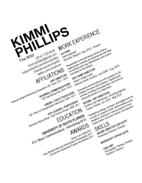 Cover Letter Sample For A Resume by Cv Kimmi Phillips Art Director
