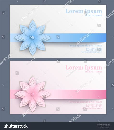 flash card template card stock paper business card paper flower template visit stock vector