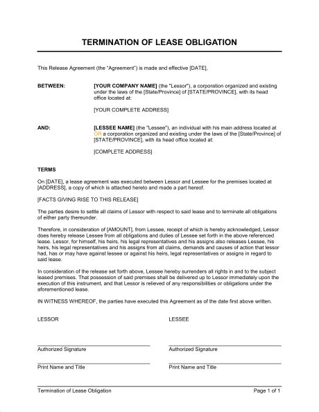 Termination Of Lease Obligation Template Sle Form Biztree Com Written Notice Of Termination Of Lease Template