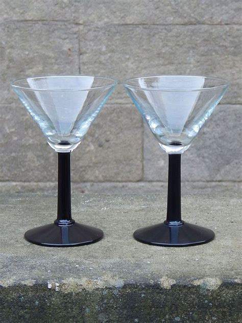 Stem Cocktail Glasses Set Of 2 Vintage Black Stem Martini Glasses Vintage