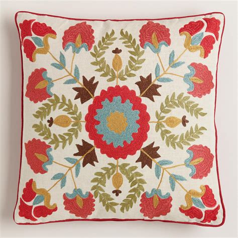 Suzani Throw Pillows by Suzani Embroidered Throw Pillow World Market