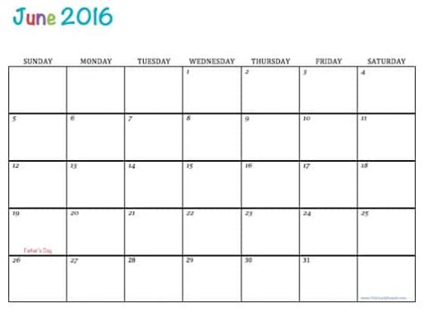 printable month calendar june 2016 free printable 2016 calendars