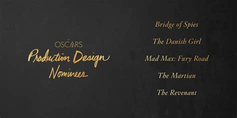 Oscar Predictions Designers by 2016 Oscar Predictions Production Design Awardswatch