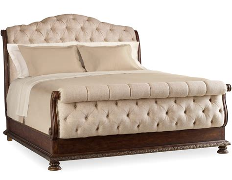 King Tufted Sleigh Bed With Upholstered Headboard And