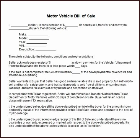 bill of sale word template motor vehicle bill of sale exltemplates