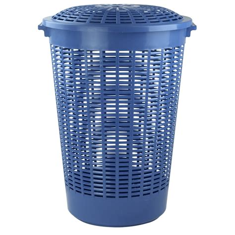 plastic laundry with lid homeleisure trend 62l blue laundry her with lid
