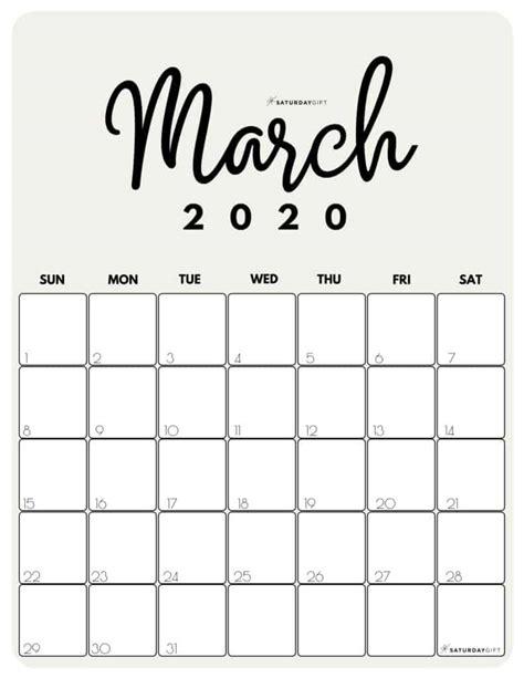 cute  printable march  calendar saturdaygift