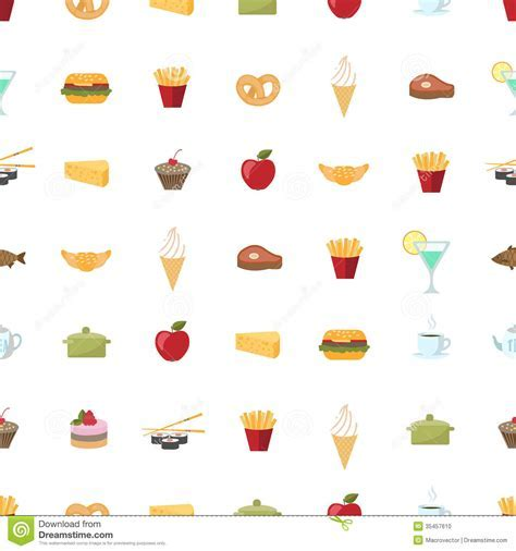 Food Pattern Seamless Background Stock Vector
