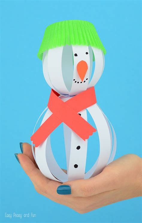 How To Make 3d Snowman Out Of Paper - paper snowman craft easy peasy and
