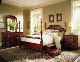 4 Poster Bedroom Set American Drew Cherry Grove Low Poster Bedroom Set In Cherry