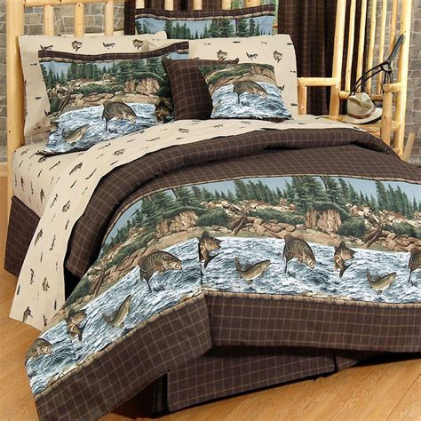 river fishing rustic comforter bedding