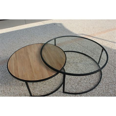 table basse ronde verre et bois table basse ronde ferscott industriel d 110 x h 42