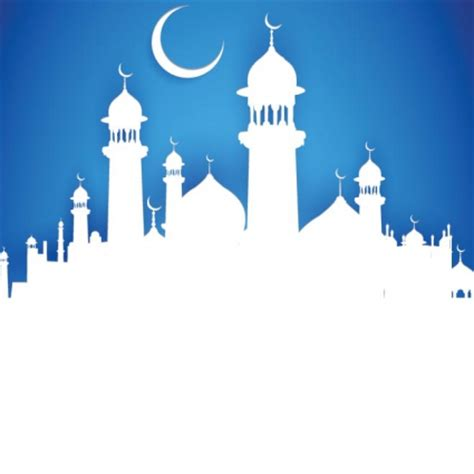 design masjid photoshop free vector silhouette mosque with crescent moon on blue