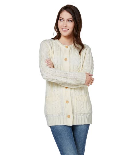 womens knit cardigan woolovers womens wool aran crew neck sleeve warm
