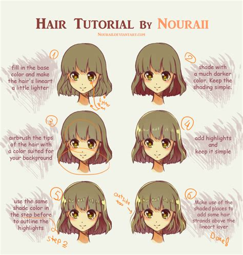 how to shade hair hair tutorial by nouraii on deviantart