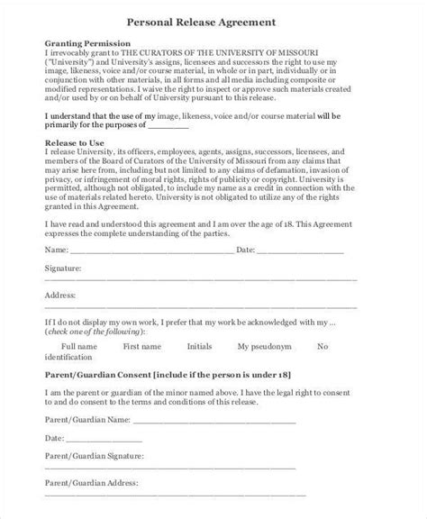 release agreements 6 release agreement exles in word pdf
