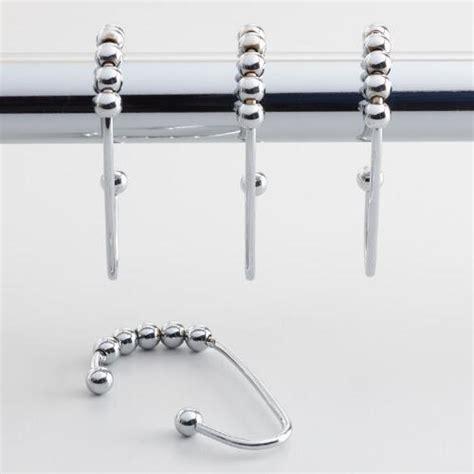 Roller Shower Curtain Rings Ideas Chrome Shower Curtain Roller Hooks Set Of 12 World Market