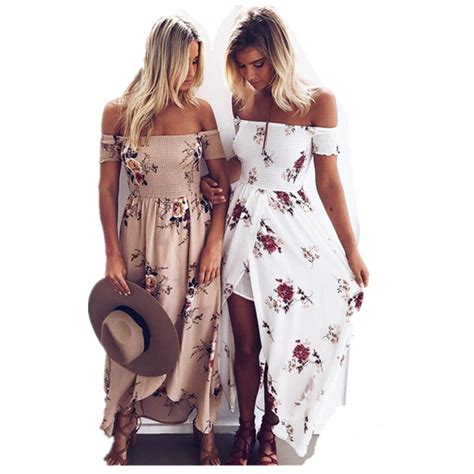 bohemian clothing boho chic dresses vintage styles boho chic style long dress women off shoulder beach summer