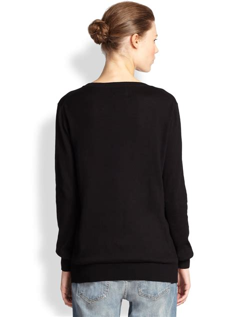 Sweater We Black markus lupfer natalie easy tiger sequined cotton sweater in black lyst