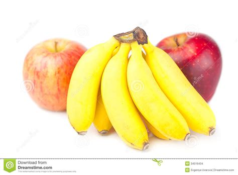 apple and banana red apple and bananas isolated on white stock images