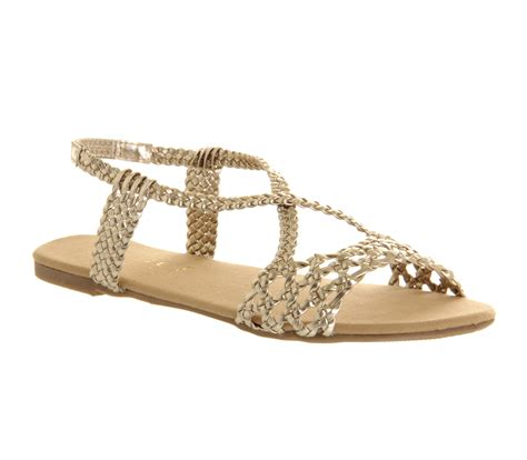 golden sandals womens office hades strappy sandal weave metallic gold