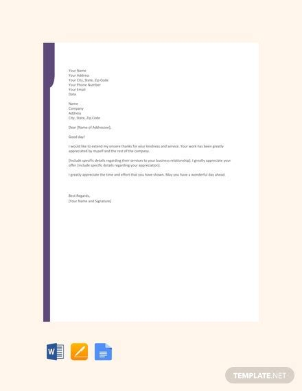 appreciation letter template word