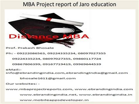 Mba Education by Mba Project Report Of Jaro Education Authorstream