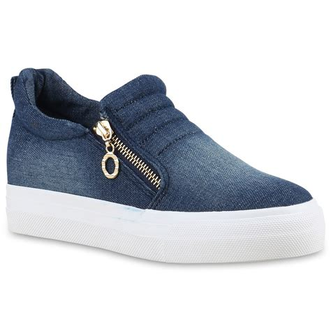 Sneakers Denim damen sneakers sneaker wedges keilabsatz denim