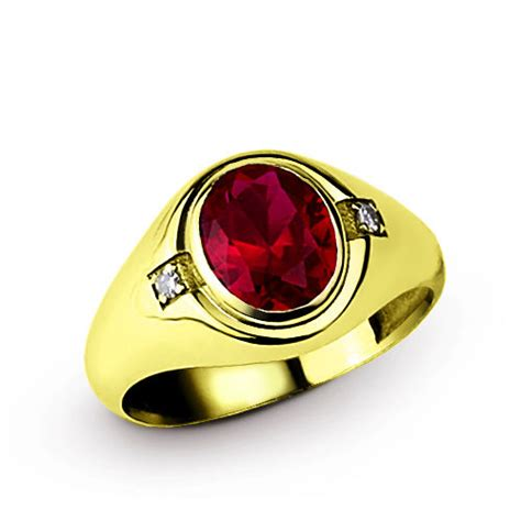 Ruby 4 10 Ct mens gold ring 10k solid yellow gold 4 90ct ruby and