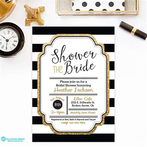 black and gold bridal shower invitations bridal shower invitation gold glitter bridal shower