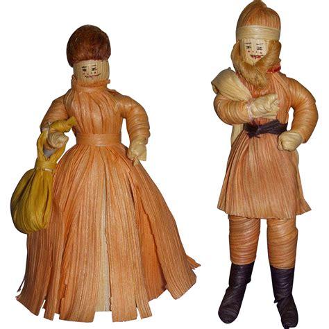vintage corn husk doll vintage santa mrs santa folk corn husk dolls from