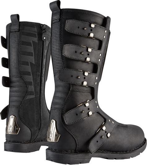 womens motorcycle riding boots with womens icon 1000 black leather elsinore hp motorcycle
