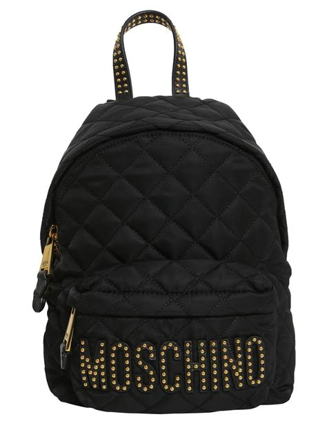 moschino small quilted logo backpack in black save 17