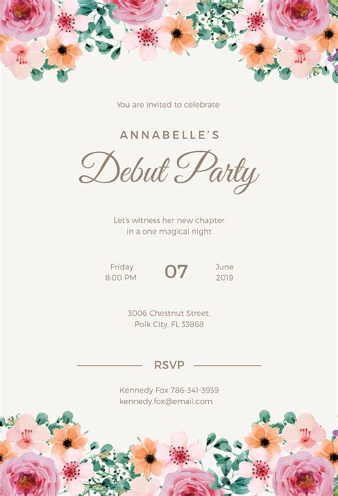 templates for debut invitations formal invitation template 33 free sle exle