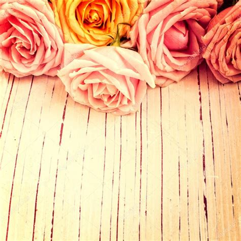 retro photos vintage retro background with roses stock photo