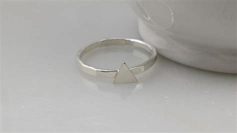 sterling silver triangle ring geometric tiny silver