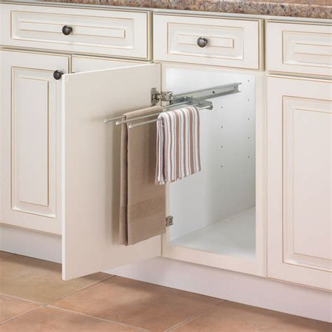 kitchen cabinet towel bar pull out towel bars for kitchen or vanity cabinet from knape vogt kitchensource com