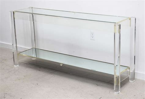 Narrow Clear Acrylic Console Table With Shelf For Small Clear Acrylic Sofa Table