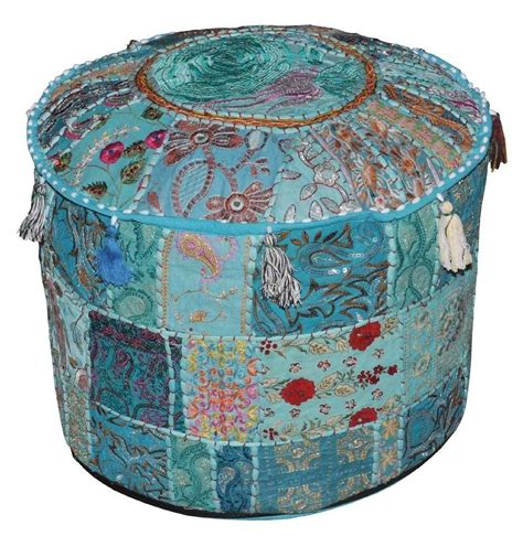 round cushion ottoman vintage indian embroidery round cushion ottoman stool pouf