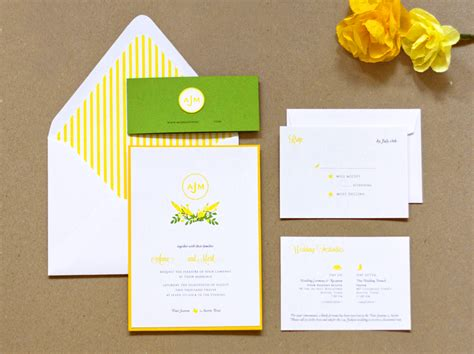 s preppy yellow and green wedding invitations