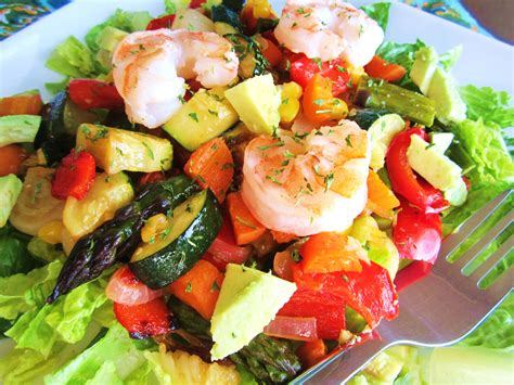 vegetables salad roasted vegetable salad with avocado and shrimp