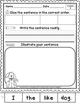 Kindergarten Sentence Building Worksheets by Simple Sentences Sentence Writing And Sentence Structure