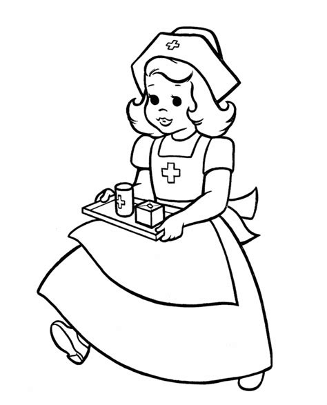 coloring pages nurses and doctors being a nurse coloring sheet clipart best