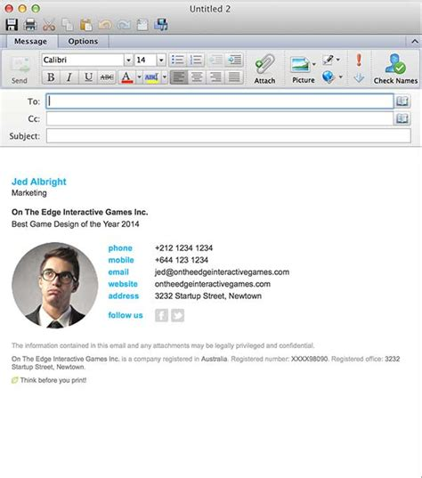 Email Signatures For Outlook Mac 2016 Microsoft Outlook Signature Templates