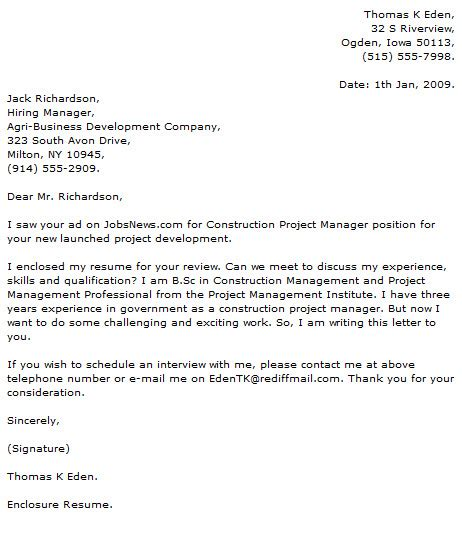 Construction Management Cover Letter Exles by Project Manager Cover Letter Exles