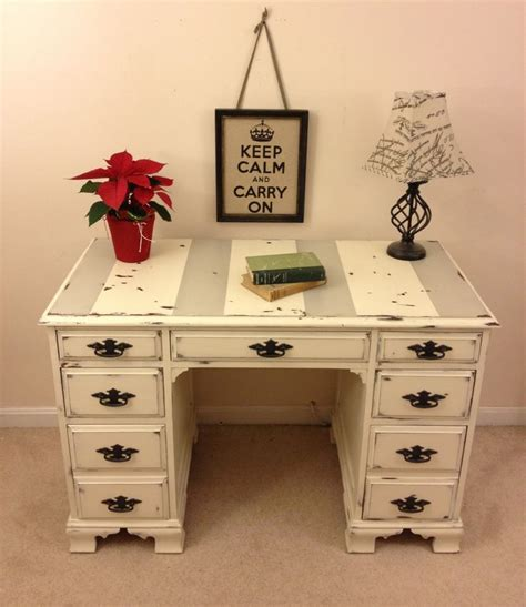 Shabby Chic Annie Sloan Chalk Paint Desk With Chippy Paint White Painted Desk