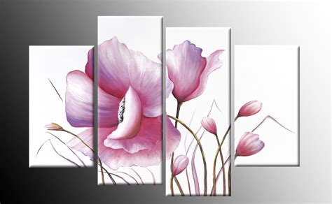 pink floral canvas flower painting wall split multi 4 panel rdy 2 hang 40 quot ebay