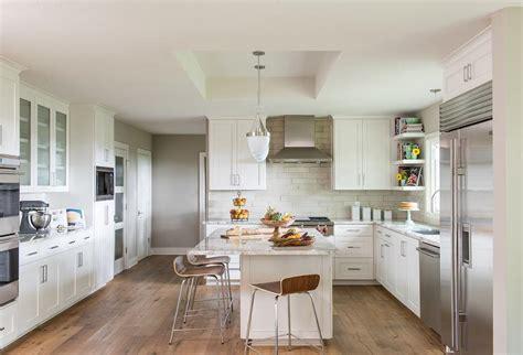 White Kitchen with Light Gray Cement Tile Backsplash