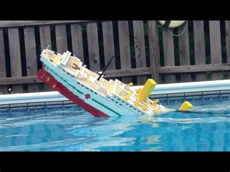 lego boat sinking in pool 5 foot lego britannic model sinking video 2 youtube